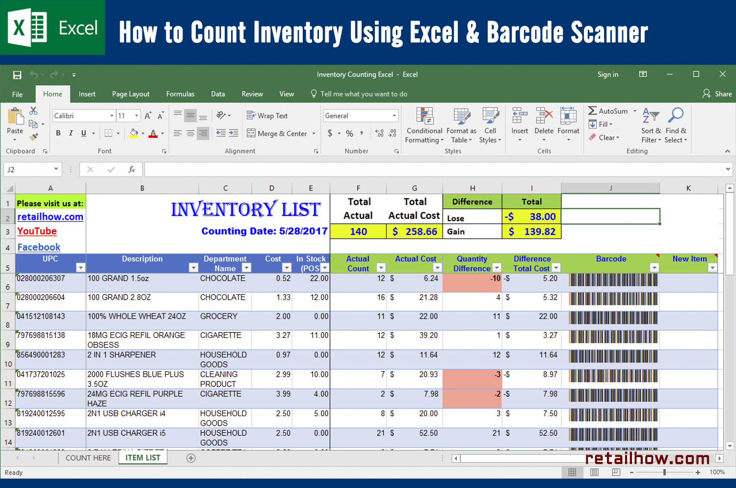 How To Count Inventory Using Excel Barcode Scanner Retailhow - Barcode scanner invoice software