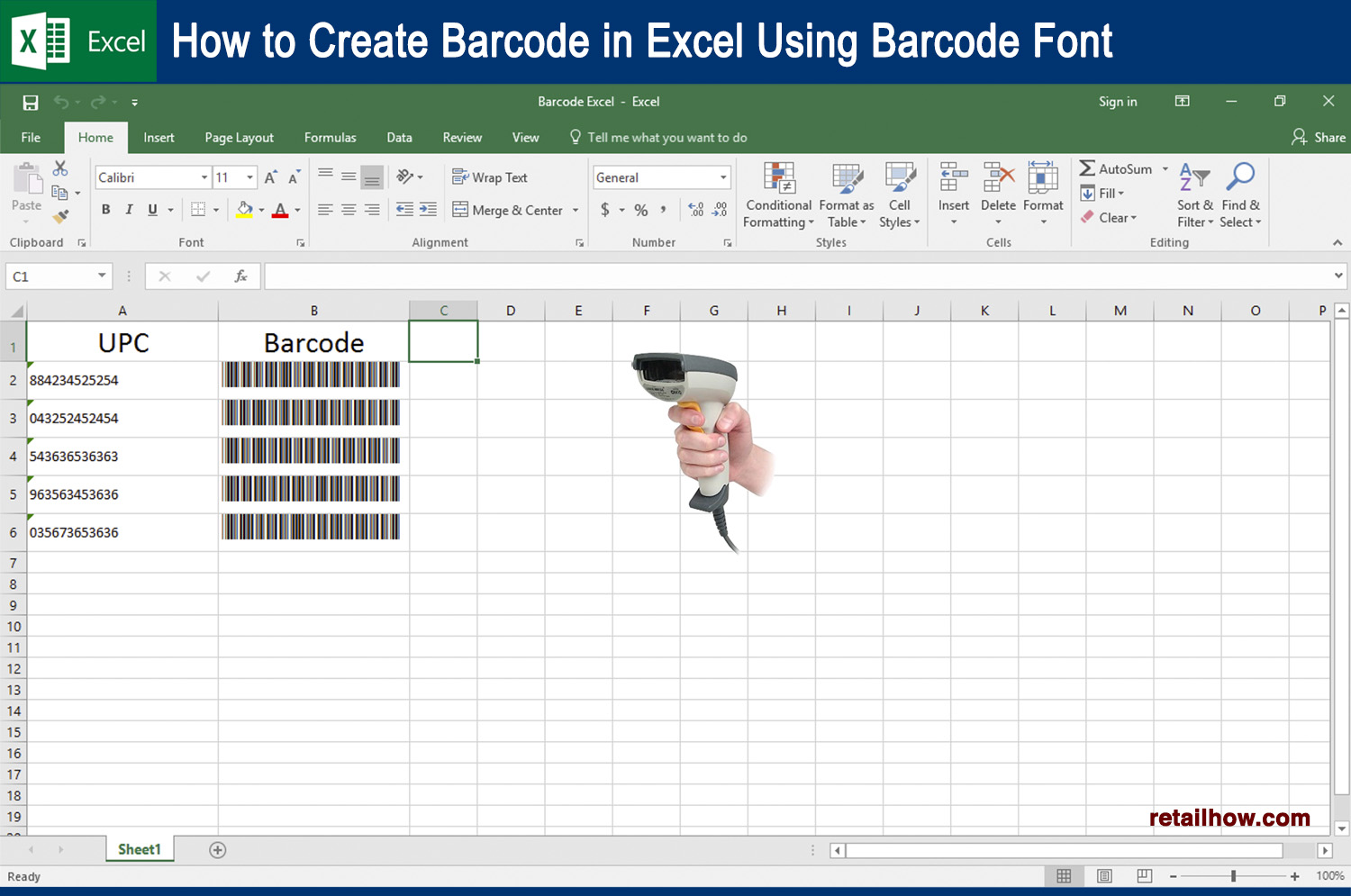 How to create barcode in excel using barcode font retailhow for Barcode font for excel